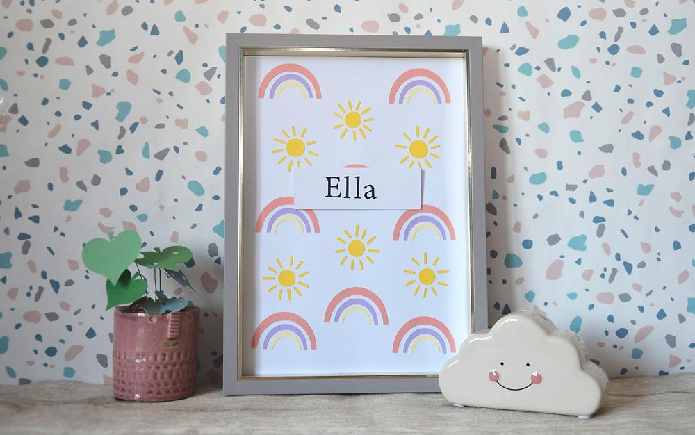 Sun and rainbow wall art for kids bedroom papercraft idea