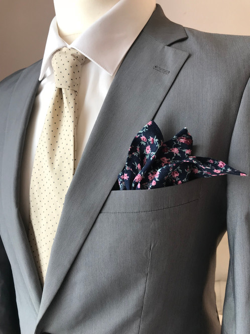 Neutral and Navy Star Patterned Tie