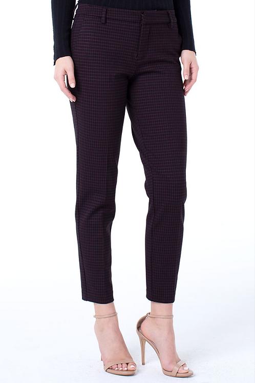 Kelsey Cranberry/Black Check Ponte Knit Trouser