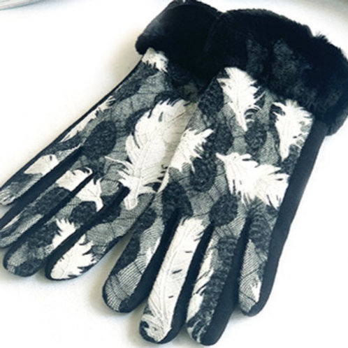 "Black and White ""Feathers"" Jacquard Gloves"