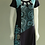 Thumbnail: Leopards & Roses Sky Blue and Slate Grey  Embroidered Cap Sleeve Dress