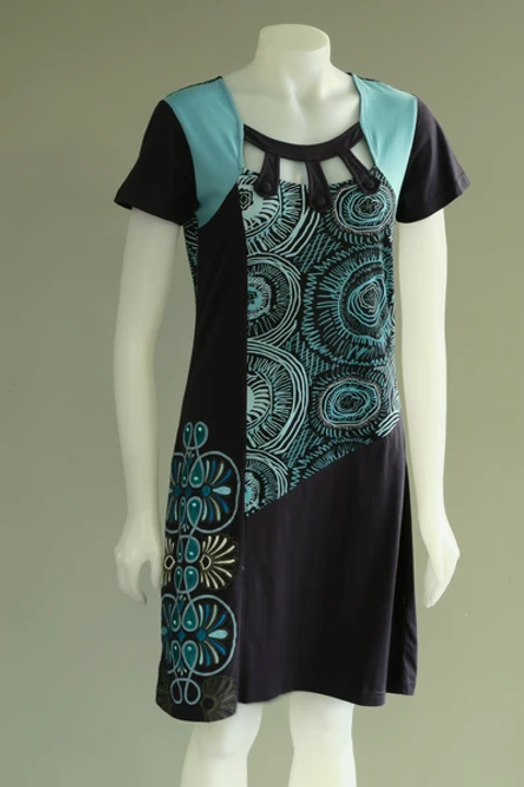 Leopards & Roses Sky Blue and Slate Grey  Embroidered Cap Sleeve Dress