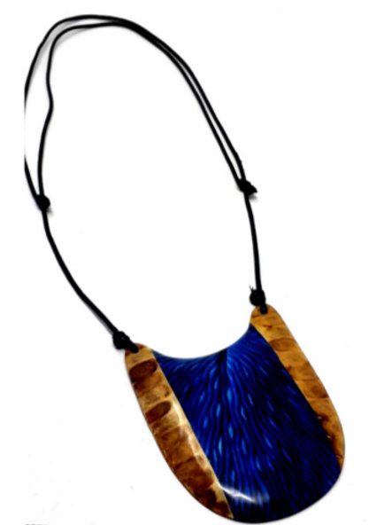 Blue and Brown Hand Painted Wooden Pendant  #F21
