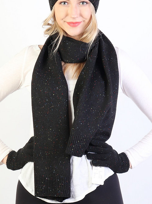 Black Donegal Knit Scarf