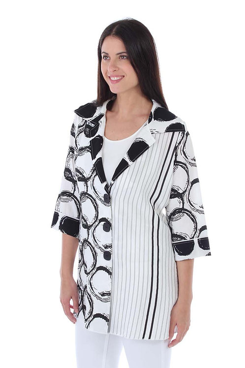 Black and White Circles and Stripes Shirt Jacket