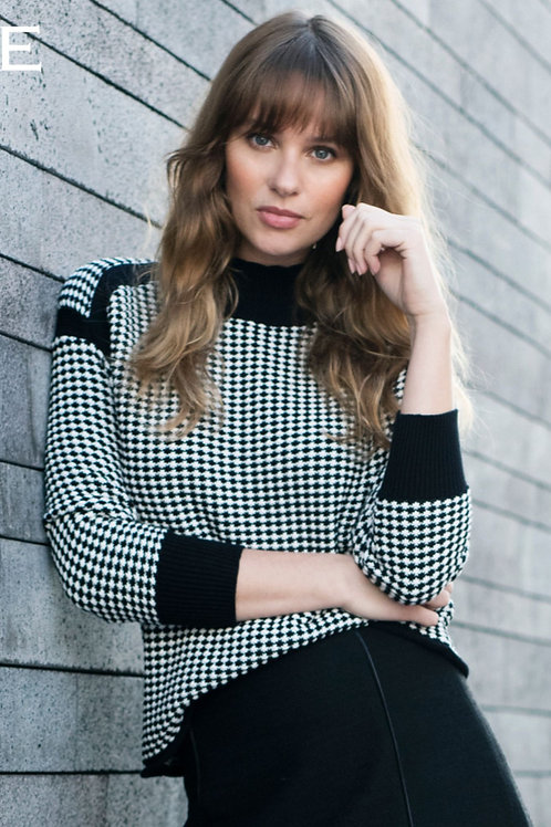 Black and Winter White Houndstooth Mock Neck Sweater