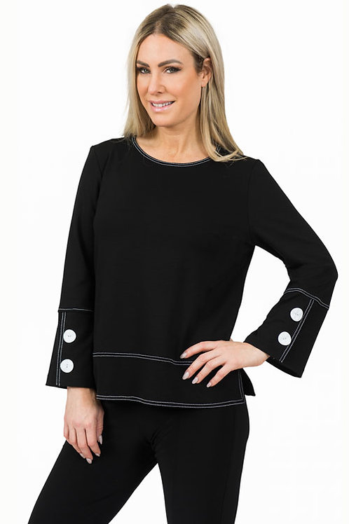 Black Ponte Top with White Stitching and Button Detail