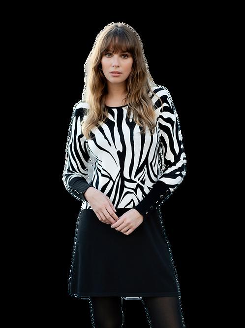 Black and Winter White Zebra Sweater Dress