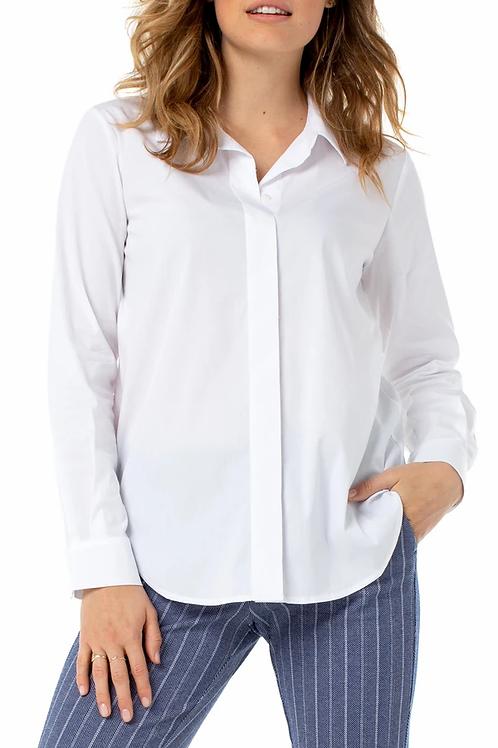 Classic White Hidden Placket Shirt