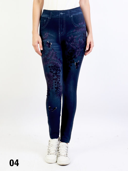 Leaf and Butterfly Print Washed Denim  One Size Jeggings