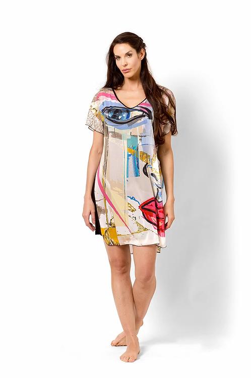 Picasso Print Layered Chiffon Tunic/Dress