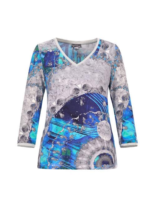 "Dolcezza ""Blue & White Yin Yang Symbol"" V-Neck 3/4  Sleeve Top"