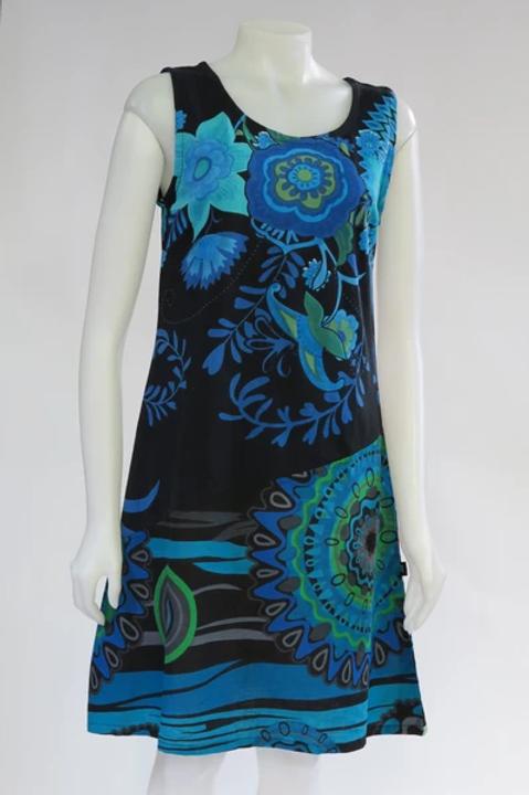 Turquoise Bold Flower Sleeveless Dress