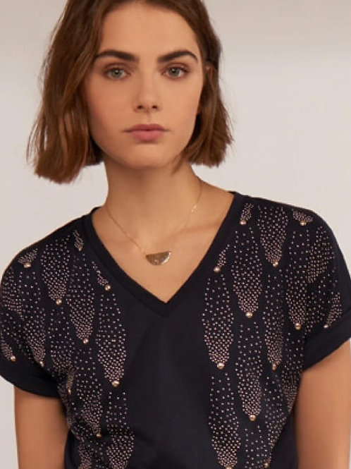 """Navy & Gold Fireworks"" Print Top by Leo & Ugo Paris"