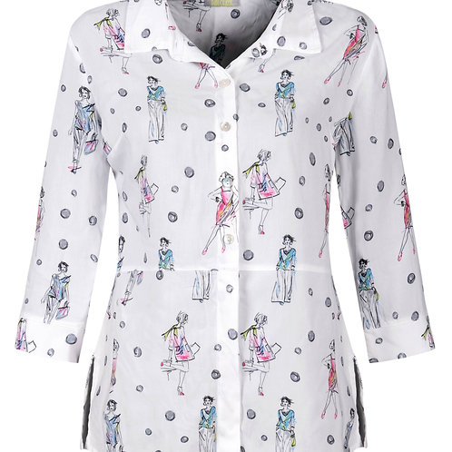 """""""Fashionista"""" Button Front Shirt with 3/4 Sleeves"""