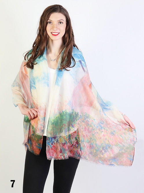 """Monet """"Woman with Parasol"""" Sheer Scarf"""