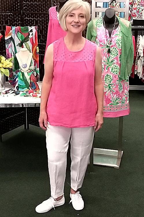 Carre Noir Hot Pink Linen Sleeveless Top