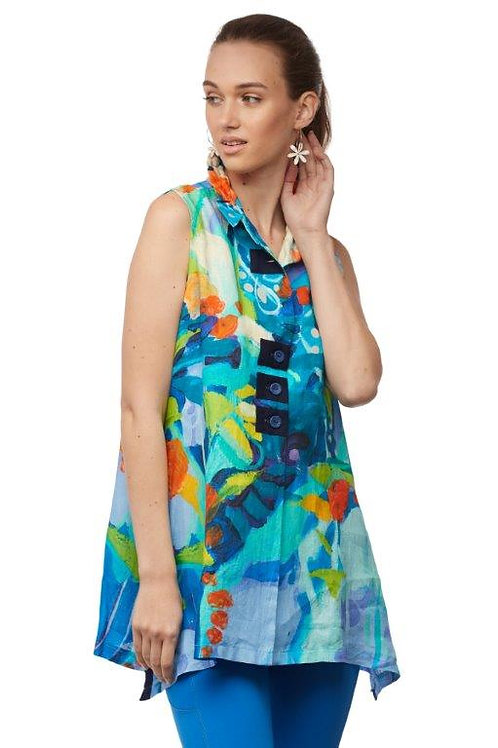 """Claire Desjardins """"Loving the Land"""" Sleeveless Trapese Style Blouse"""