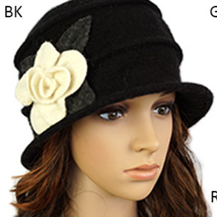 Black Wool Cloche  with Off White Flower
