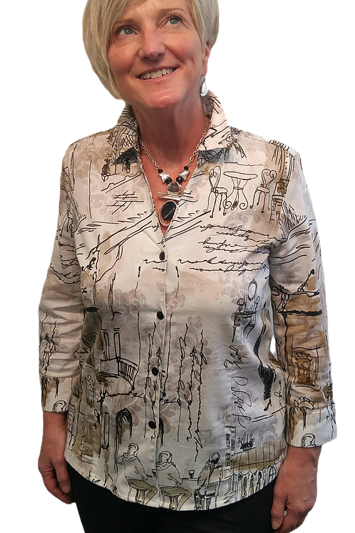 """""""Once in Paris"""" Button Front Shirt by Dolcezza 70133"""