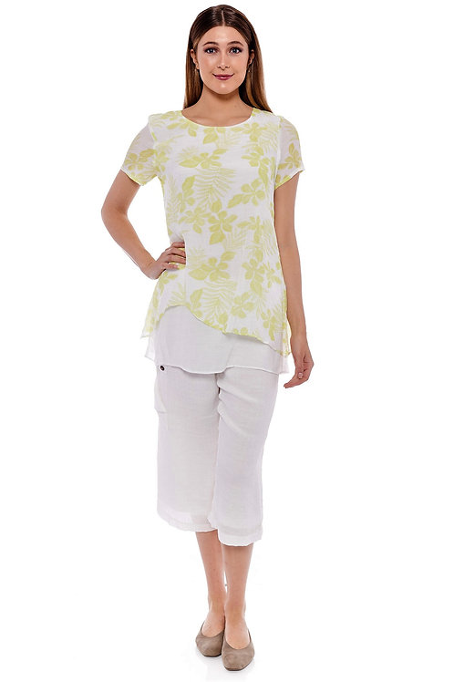 Miss Nikky Lime and White Layered Floral Tunic