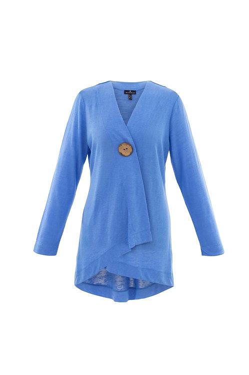 Sky Blue One-Button Hi/Low Cardigan