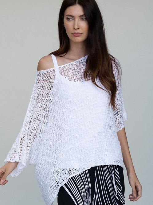 White Crochet One Size Sweater
