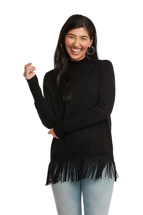Carre Noir Black Fringed Front Mock Neck Sweater