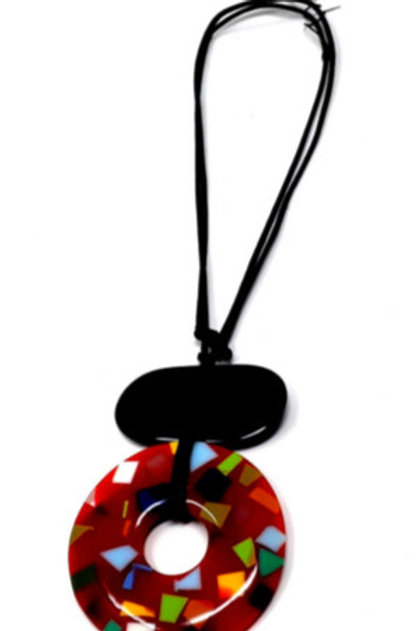 Multi Coloured Resin Circle Pendant  #F 17
