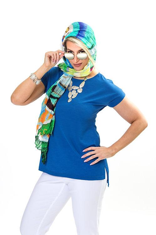 Sky Blue Cap-Sleeve Tunic