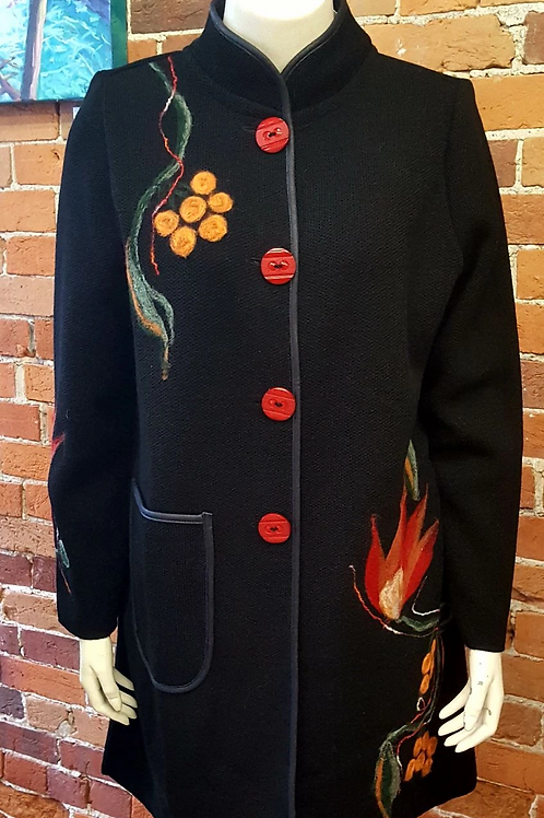 Black with Red Buttons Felted Wool Embellished Sweater Coat