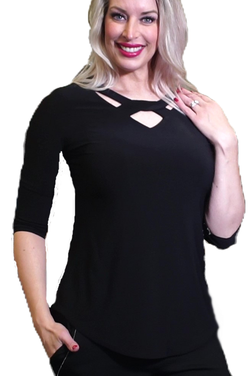 Black Criss Cross Neck 3/4 Sleeve Top
