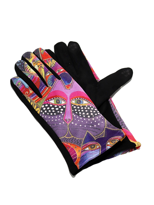 """""""The Purpe Cat"""" Faux Suede Gloves"""