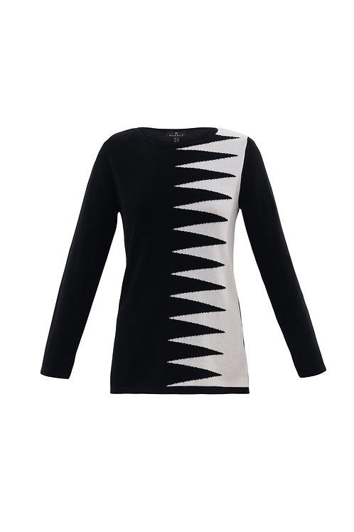 Black and Winter White Zig Zag Crew Neck Sweater