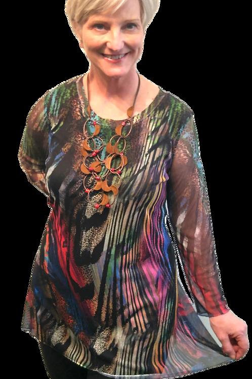 Colourful Animal Print Mesh Tunic