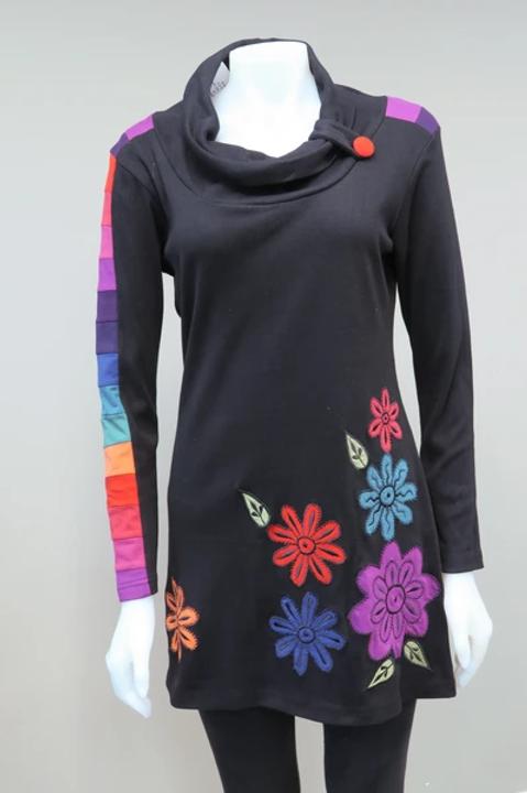 Leopards & Roses Appliqued Flower Tunic
