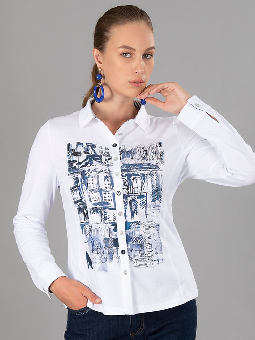 """Blue on Blue"" Print Button Front Shirt by Dolcezza 70160"