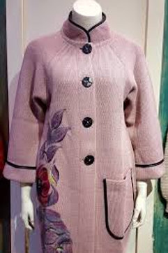 Dusty Pink Felted Wool Embellished Sweater Coat