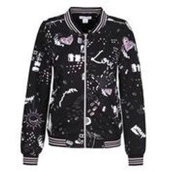 "Dolcezza ""I Love Pink"" Black Printed Bomber Jacket"