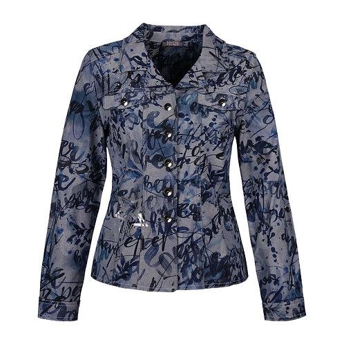 """Blue on Blue"" Printed Denim Jacket"
