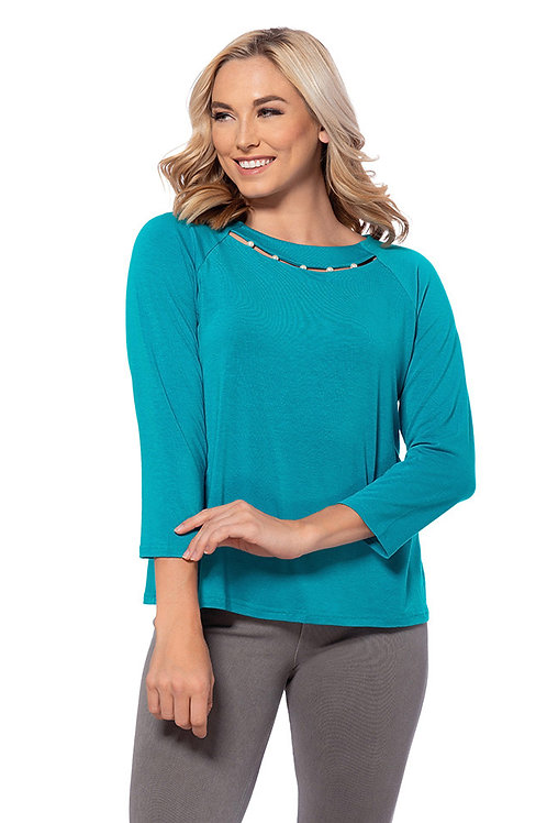 Pearl Trimmed 3/4 Sleeve Knit Top