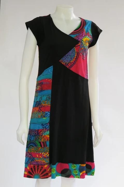 Patchwork V-Neck Cap Sleeve Dress
