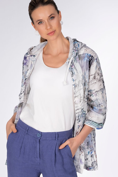 "Dolcezza ""Blue Vintage"" Linen Hooded Jacket"