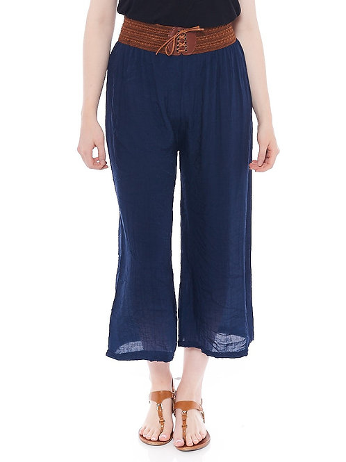 Miss Nikky Navy Crinkle Culotte