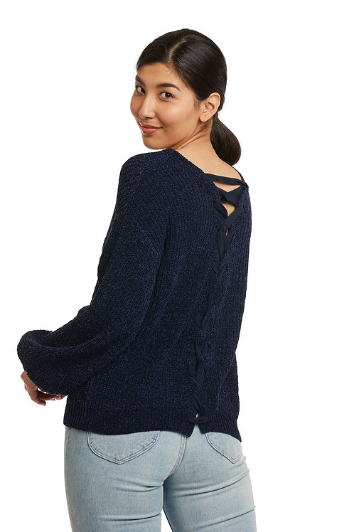 Carre Noir Midnight Chenille Laced -Back Sweater