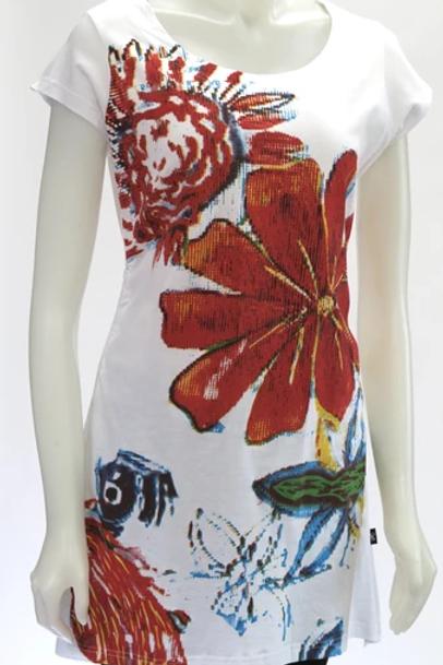 Leopards & Roses Flower Print Drawstring Tunic