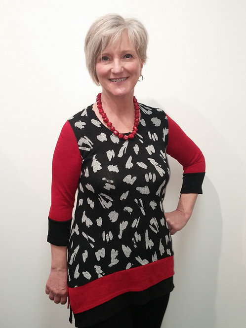 Black/Grey Splash A-Line Tunic