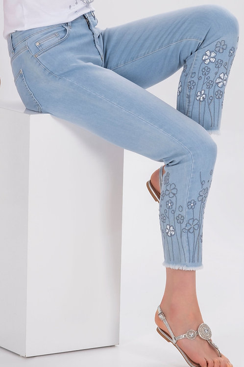 Dolcezza Light Wash Denim Jeans with Embroidered and Frayed Hem