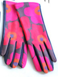 """""""Bold Blooms"""" Faux Suede Gloves"""