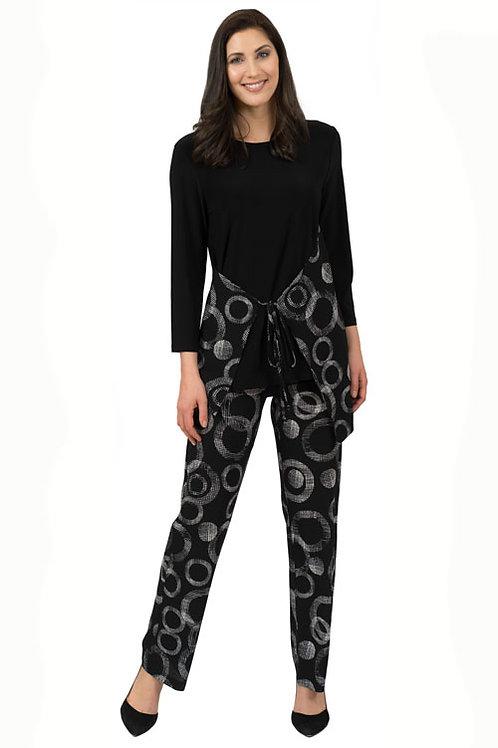 Black & White Circle Print Pebble Crepe Pants